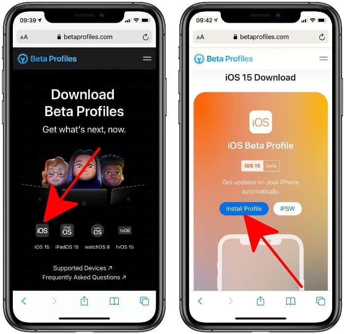 iOS 15 Beta Profil installieren
