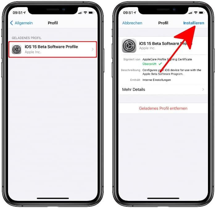 iOS 15 Beta Software Profile installieren