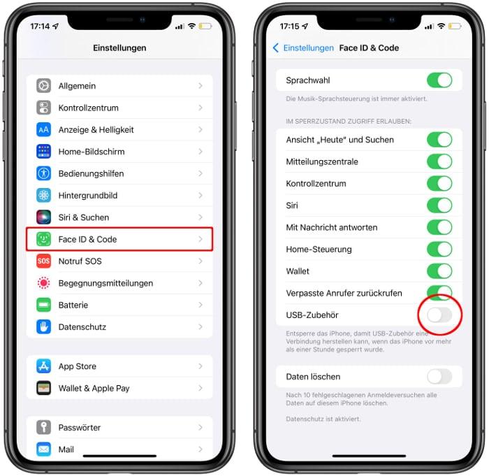 iPhone für USB-Zubehör sperren