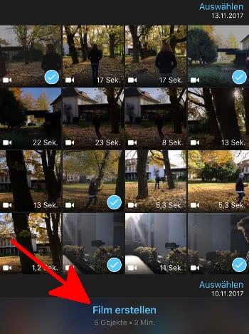 Videos und Filme auswählen in der iMovie-App auf dem iPhone