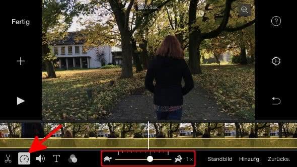 Abspielgeschwindigkeit einstellen in iMovie auf dem iPhone