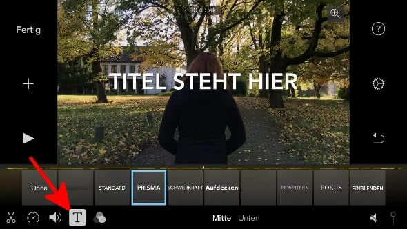 Video-Titel wählen in iMovie auf dem iPhone