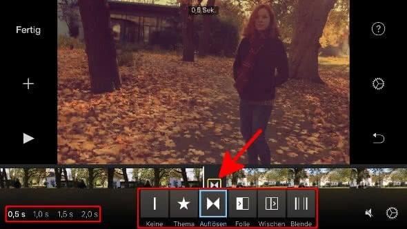 Überblendeffekte nutzen in iMovie