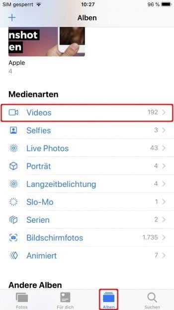 Video-Album in Fotos-App auswählen