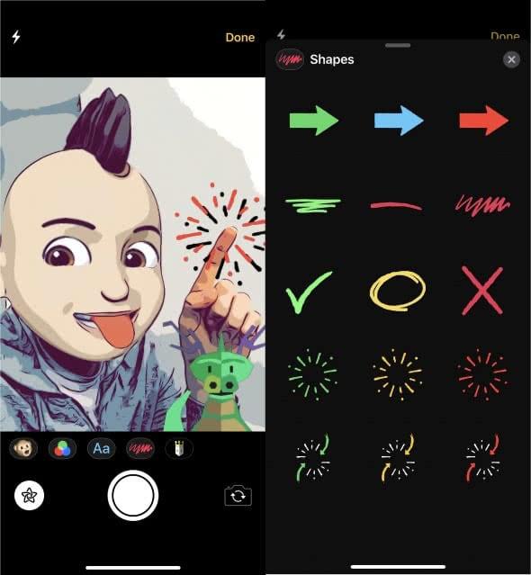 Formen und Sticker hinzufügen in der iMessage-Kamera