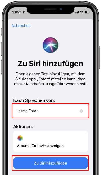 Kurzbefehl zu Siri hinzufügen