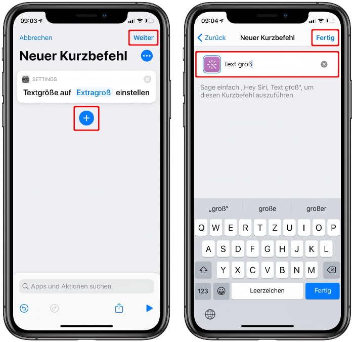 Siri-Kurzbefehl Namen geben