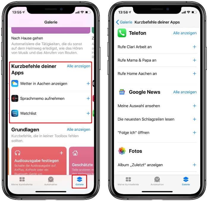 Siri-Kurzbefehle basierend auf der eigenen App-Nutzung