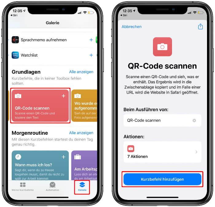 """""""QR-Code scannen"""" als Siri-Kurzbefehl hinzufügen"""