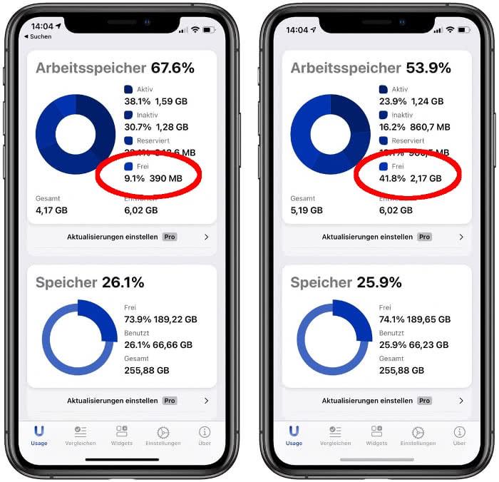 iPhone Arbeitsspeicher Auslastung überprüfen mit der Usage-App