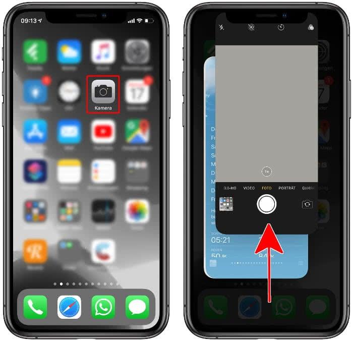 Kamera-App schließen auf dem iPhone