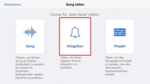 iPhone Klingelton erstellen aus Liedern mit GarageBand