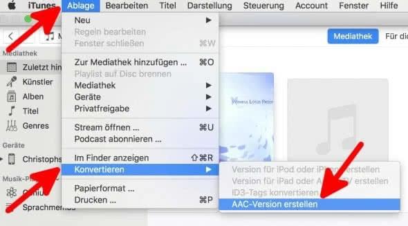iPhone Klingelton erstellen mit iTunes am Mac – AAC-Version des Songs erstellen