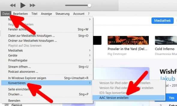 iPhone Klingelton erstellen mit iTunes am Windows PC – AAC-Version des Songs erstellen