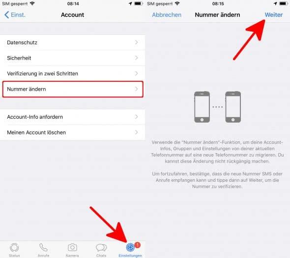 WhatsApp Nummer ändern und Kontakte automatisch benachrichtigen