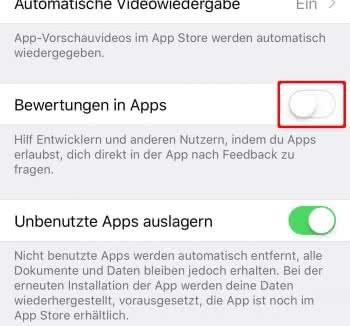 Bewertungen in Apps deaktivieren am iPhone