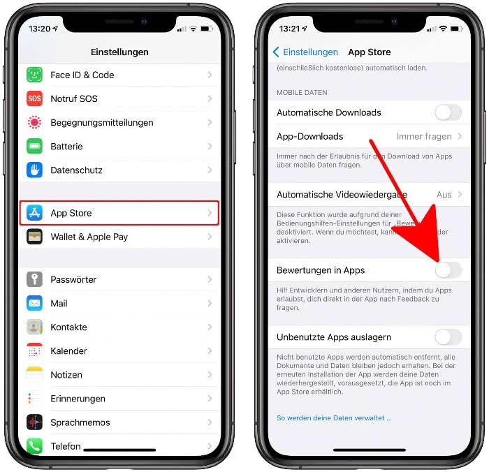 Bewertungen in Apps deaktivieren