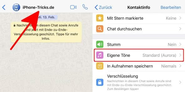 WhatsApp Kontakten eigenen Ton zuweisen