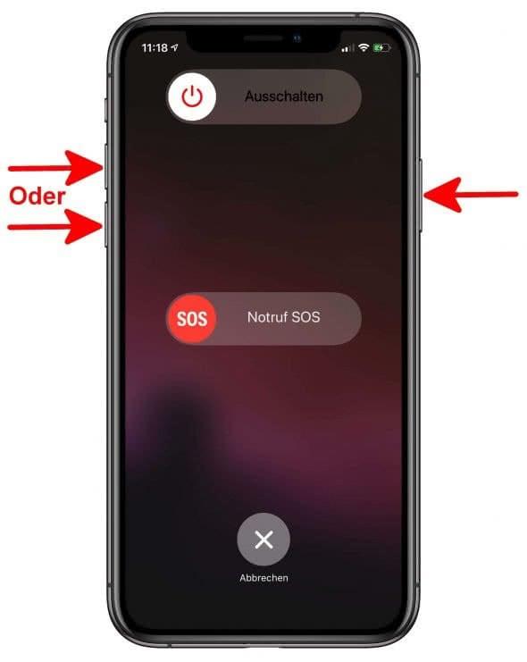 iPhone XS ausschalten