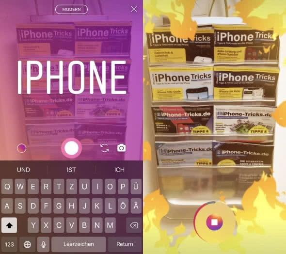 Text- und Superzoom-Funktion in Instagram am iPhone