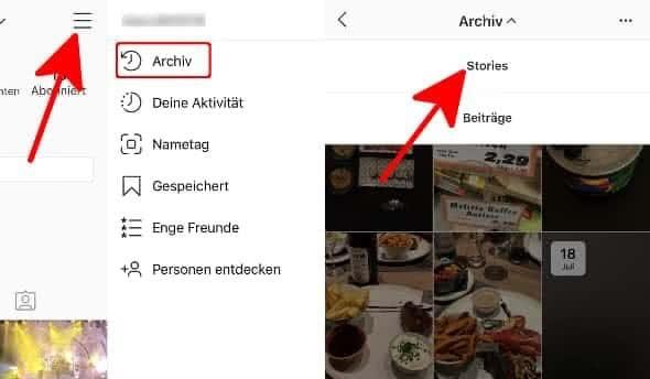 """In der Instagram-App auf eigenes Profil gehen, drei waagerechte Balken antippen, """"Archiv"""" wählen und """"Stories"""" auswählen"""