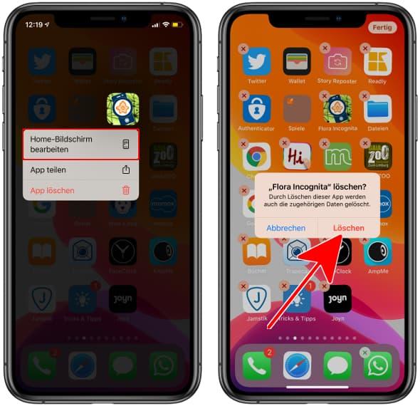 iPhone App löschen