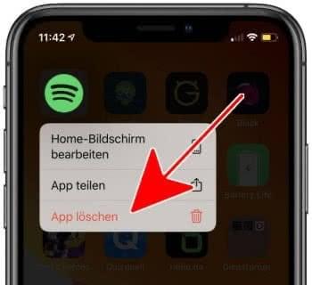 App löschen auf dem iPhone