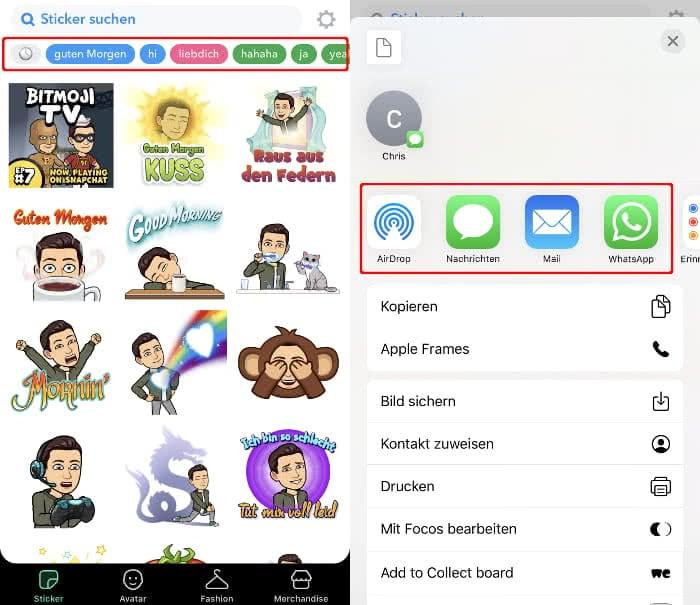 Bitmojis anzeigen und teilen auf dem iPhone