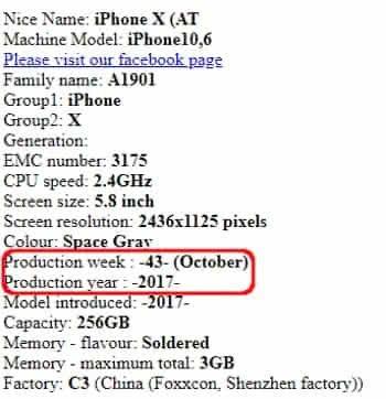 Jahr und Woche der Herstellung des iPhones auf der Chipmunk-Webseite