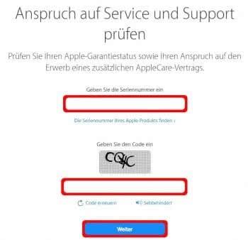 iPhone Garantiestatus überprüfen auf Apple-Webseite