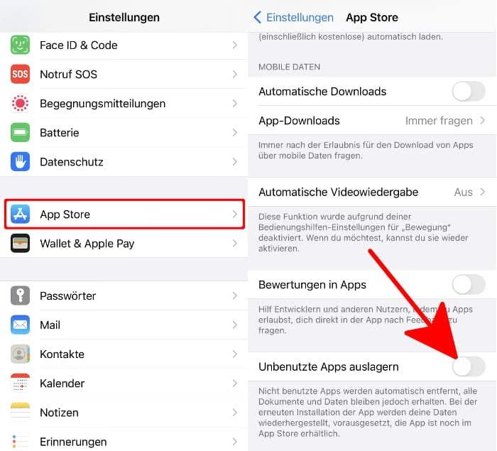Apps Auslagern Deaktivieren