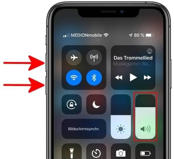 iPhone Wecker Lautstärke einstellen im Kontrollzentrum oder über die Leiser- und Lautertasten
