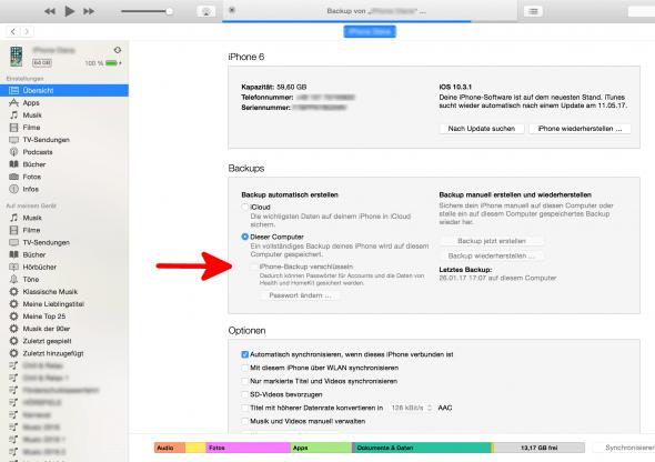 iTunes Backup erstellen unverschlüsselt