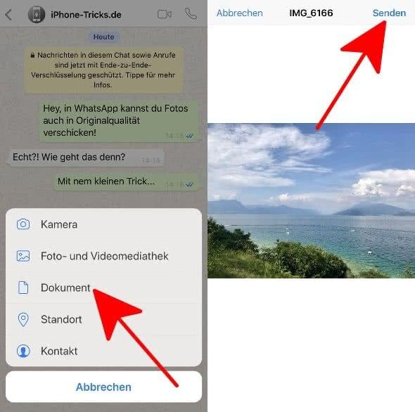 """In WhatsApp Chat unten links auf das Plus-Symbol tippen, """"Dokument"""" wählen, in Dateien-App Foto auswählen und oben rechts auf """"Senden"""" tippen"""