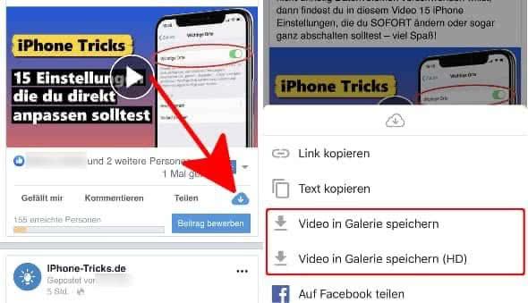 """In der Friendly-App ein Video suchen, auf das kleine Wolken-Symbol tippen und """"Video in Galerie speichern"""" auswählen"""
