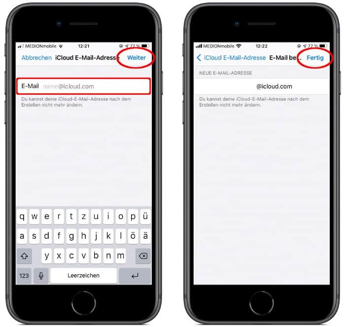 iCloud-E-Mail-Adresse erstellen