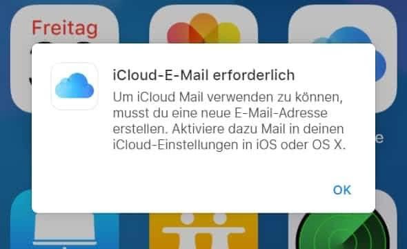 Hinweis, dass iCloud-E-Mail erforderlich ist, um iCloud Mail nutzen zu können
