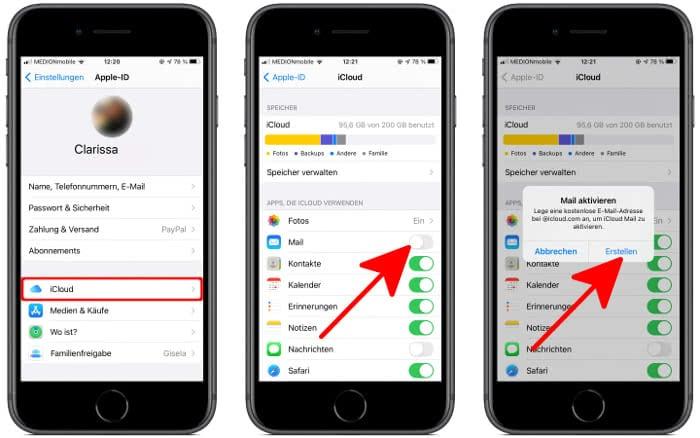 iCloud Mail erstellen auf dem iPhone