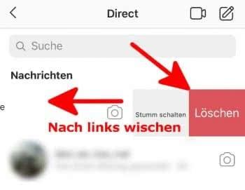 """In Instagram-App Chat nach links wischen und auf """"Löschen"""" tippen"""