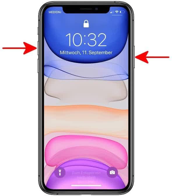 Rechte Seitentaste und Lauter-Taste gleichzeitig drücken, um einen Screenshot am iPhone 11 zu erstellen