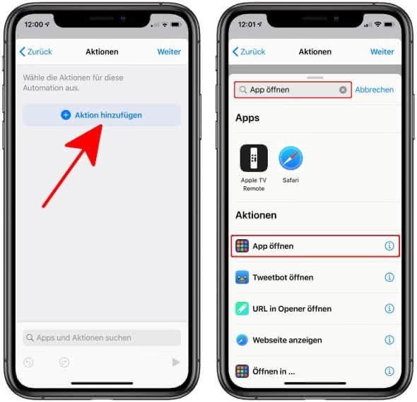 """In der Kurzbefehle-App auf """"Aktionen hinzufügen"""" gehen,""""App öffnen"""" eingeben und auf das gleichnamige Feld tippen"""