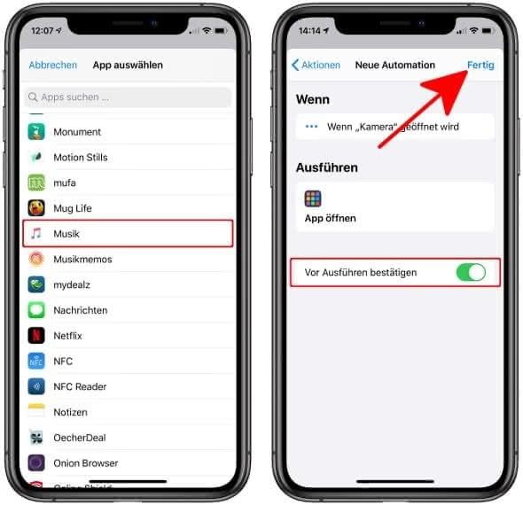 """App auswählen und """"Vor Ausführen bestätigen"""" aktivieren"""