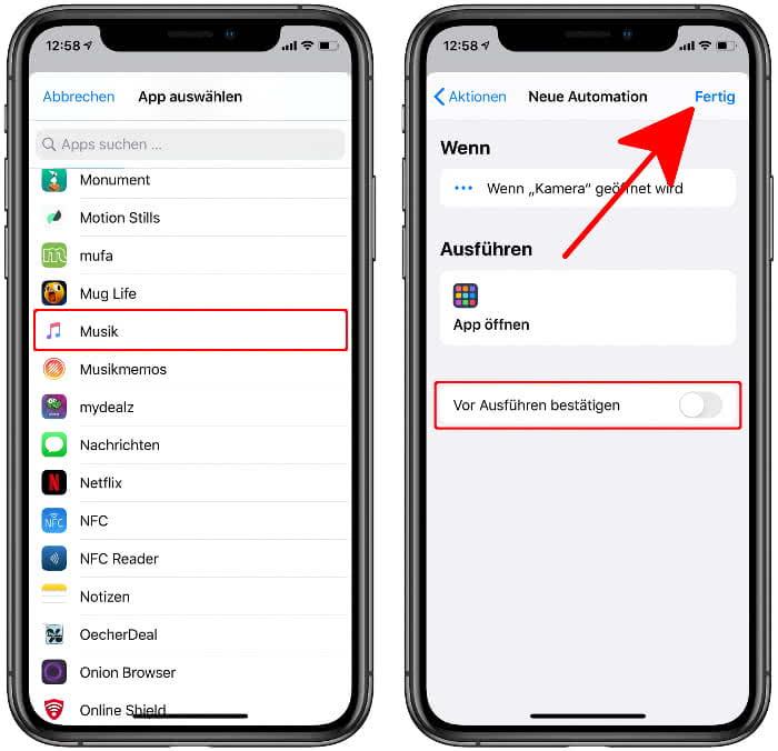 """App auswählen und """"Vor Ausführen bestätigen"""" deaktivieren"""