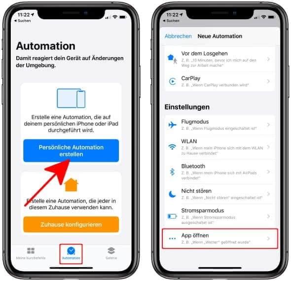 """In der Kurzbefehle-App auf """"Automation"""" tippen, """"Persönliche Automation erstellen"""" wählen und auf """"App öffnen"""" gehen"""