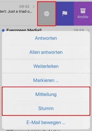 E-Mails stumm schalten oder Mitteilung aktivieren auf dem iPhone