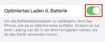 Optimiertes Laden aktivieren am iPhone