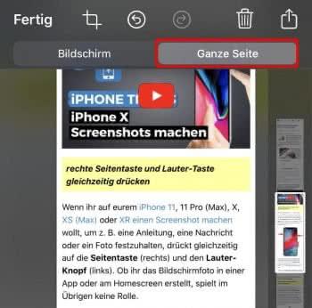 """In der Screenshot-Vorschau auf """"Ganze Seite"""" tippen"""
