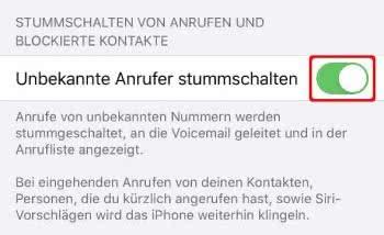 """""""Unbekannte Anrufer stummschalten"""" aktivieren auf dem iPhone"""