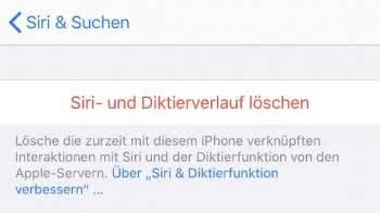 Siri- und Diktierverlauf löschen am iPhone