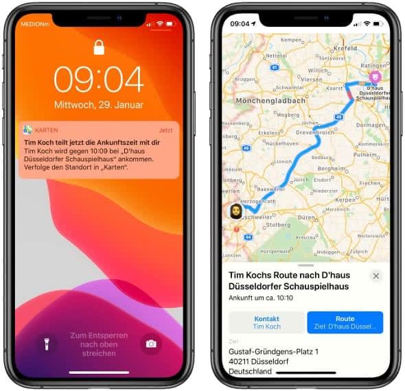 Ankunftszeit-Mitteilung und Standortverfolgung in der Karten-App